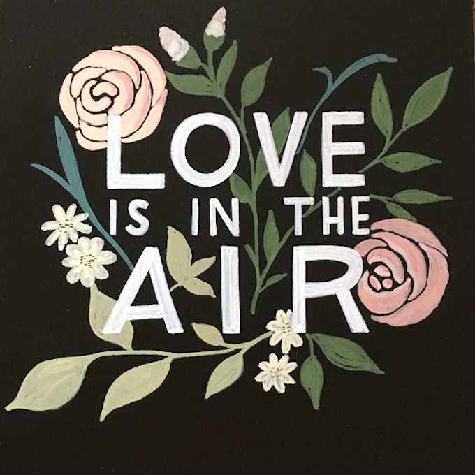 love is in the air chalkboard