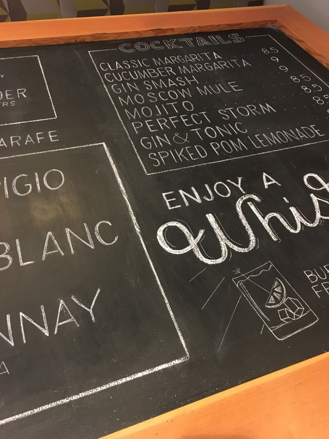 restaurant chalkboard cocktail menu